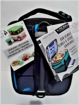 ARCTIC ZONE INSULATED LUNCH BOX EXPANDABLE 3 PLASTIC CONTAIN