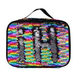 Insulated Mermaid Lunch Box, Reversible Sequin Flip Color Ch
