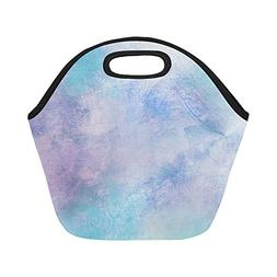 Insulated Neoprene Lunch Bag Blue Colorful Blue Large Size R