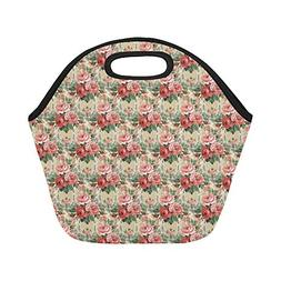Insulated Neoprene Lunch Bag Vintage Floral Decorative Seaml