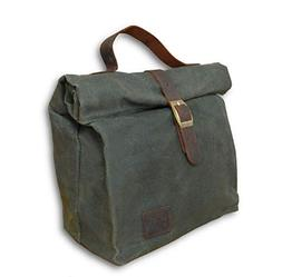Insulated Waxed Cotton Canvas Lunch Bag for Men, Women w/Gen