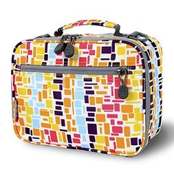 J World Cody Lunch Box in Squares Neon