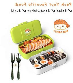 Japanese Kawaii Bento Lunch Box - Leakproof 2 Layer Bento Bo