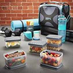 Jaxx FitPak Deluxe Meal Prep Bag with Portion Control Contai