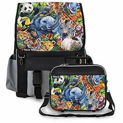 Kidaroo Jungle Babies School Backpack & Lunchbox for Boys, G