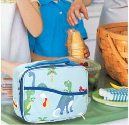 Kids Bento Lunch Box Set in Blue w/Dinosaur Design Lunch Bag