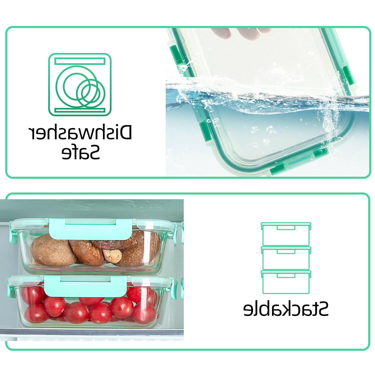 Glass Food Containers Set Lunch Boxes