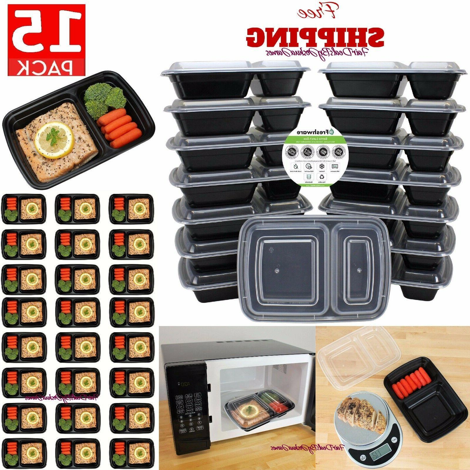 15 Meal Prep Containers Plastic Food Storage Reusable Microw