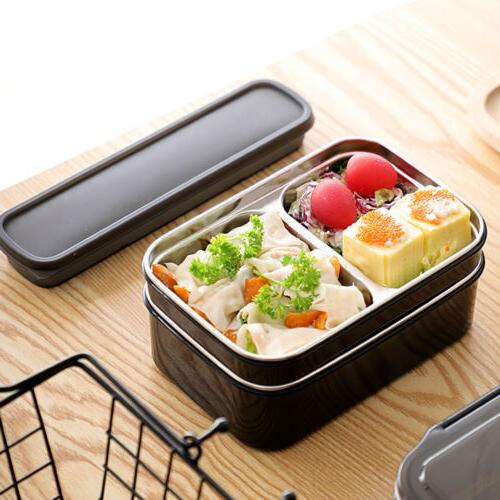 2 Layers Stainless Steel Thermal Insulated Box Bento Food