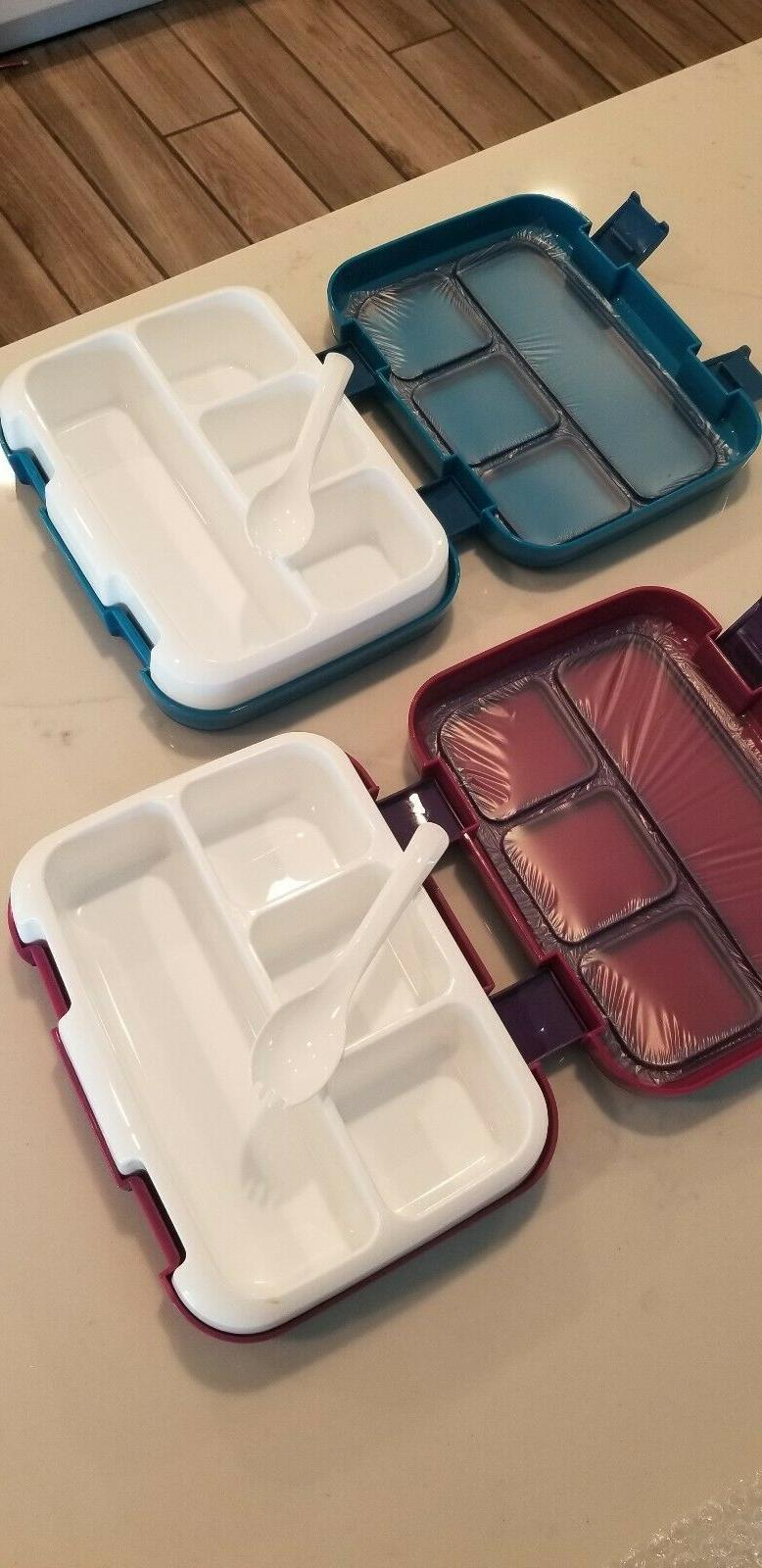 2 Bento Lunch Boxes 4-Compartment Set Meal