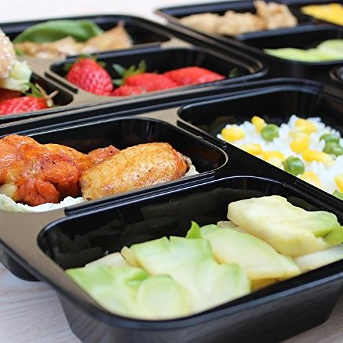 Enther Meal 3 Compartment Food Bento | Stackable | Reusable Lunch Boxes, Microwave/Dishwasher/Freezer