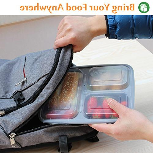 Enther Meal Containers Food Storage | BPA Stackable | Boxes, Microwave/Dishwasher/Freezer Safe,Portion