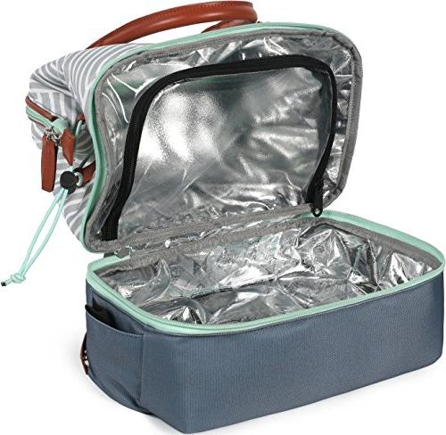 Arctic Zone Thermal Insulated Lunch 2 Compartments, Woven Gray/White