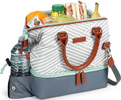 Arctic 44-66077-00-08 Insulated Lunch Compartments, Woven Geo - Gray/White