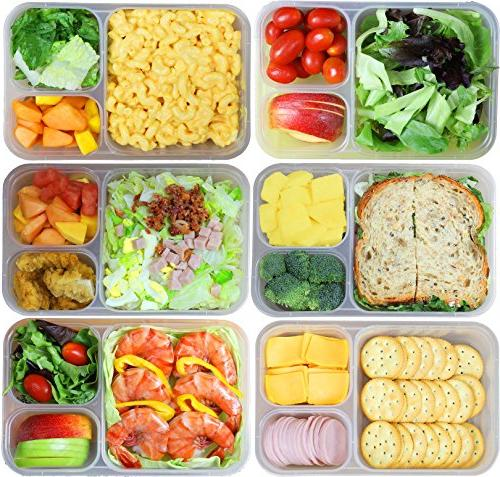6 Pack SimpleHouseware 3-Compartment Duty Lunch Container 36 ounces, 4
