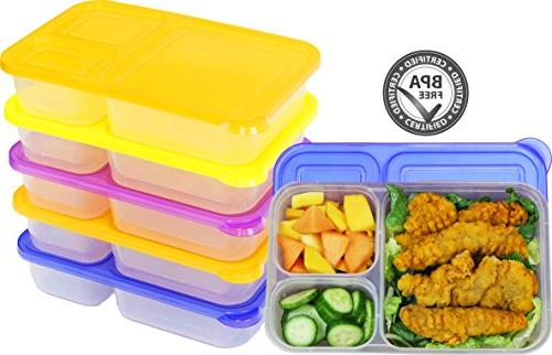 6 Pack - SimpleHouseware 3-Compartment Heavy Duty Bento Lunc