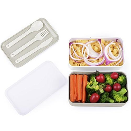 Cool Gray Bento - Lunch Box with Free Utensils
