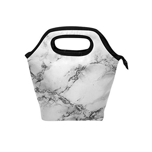 abstract marble insulated zipper lunch