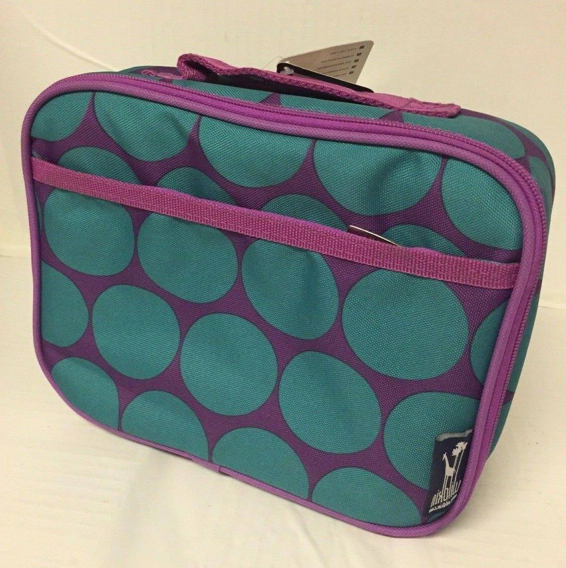 aqua big dots fabric insulated lunch box
