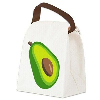 avocado emoji canvas lunch bag with strap