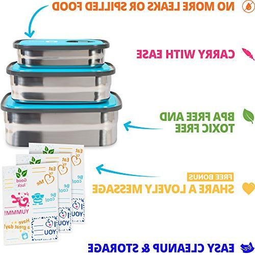 Bento Lunch Box Container In Proof Lids. Healthy Takeaway Outdoor Fun Stickers. BPA