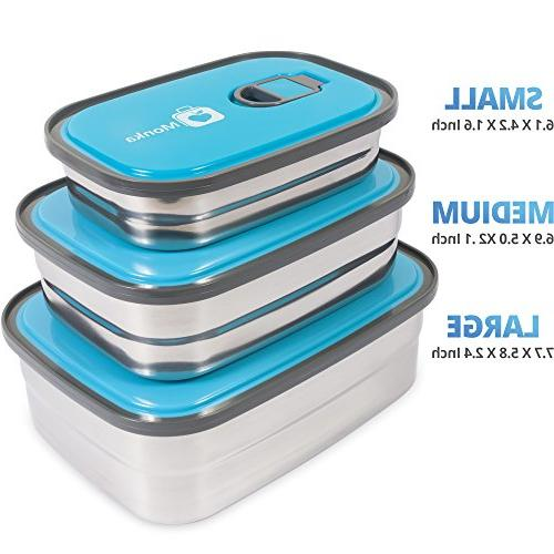 Bento Lunch Container In 1. Stainless Lids. Healthy - Kids - For Outdoor Meals. Fun & Decorative BPA