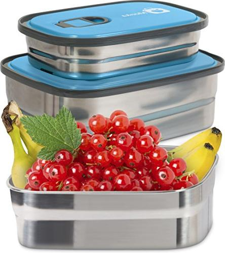 Bento Container Storage In Leak Stainless with Lids. Kids BPA