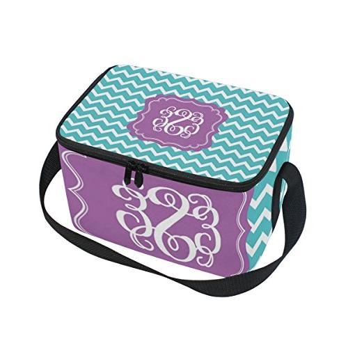 chevron monogram insulated lunch bag