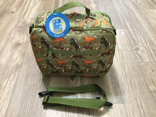 childrens lunch box green horses kids insulated