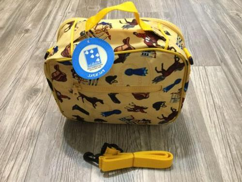 childrens lunch box yellow equestrian horses kids