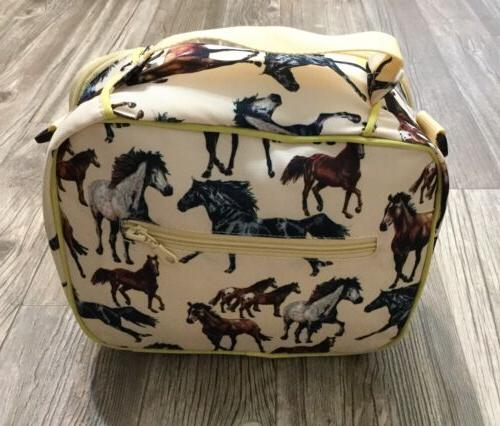 childrens lunch box yellow horses kids insulated