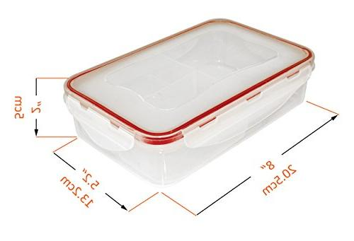 A2S Complete Meal Pcs Set: 3X Lunch Leakproof 3 Compartments Microwavable BPA - & Ice Gel