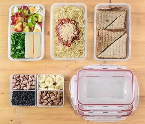A2S Prep Lunch Box 8 Pcs 3X Lunch Containers Leakproof Compartments Microwavable BPA - - Thermos - 2X Ice Gel