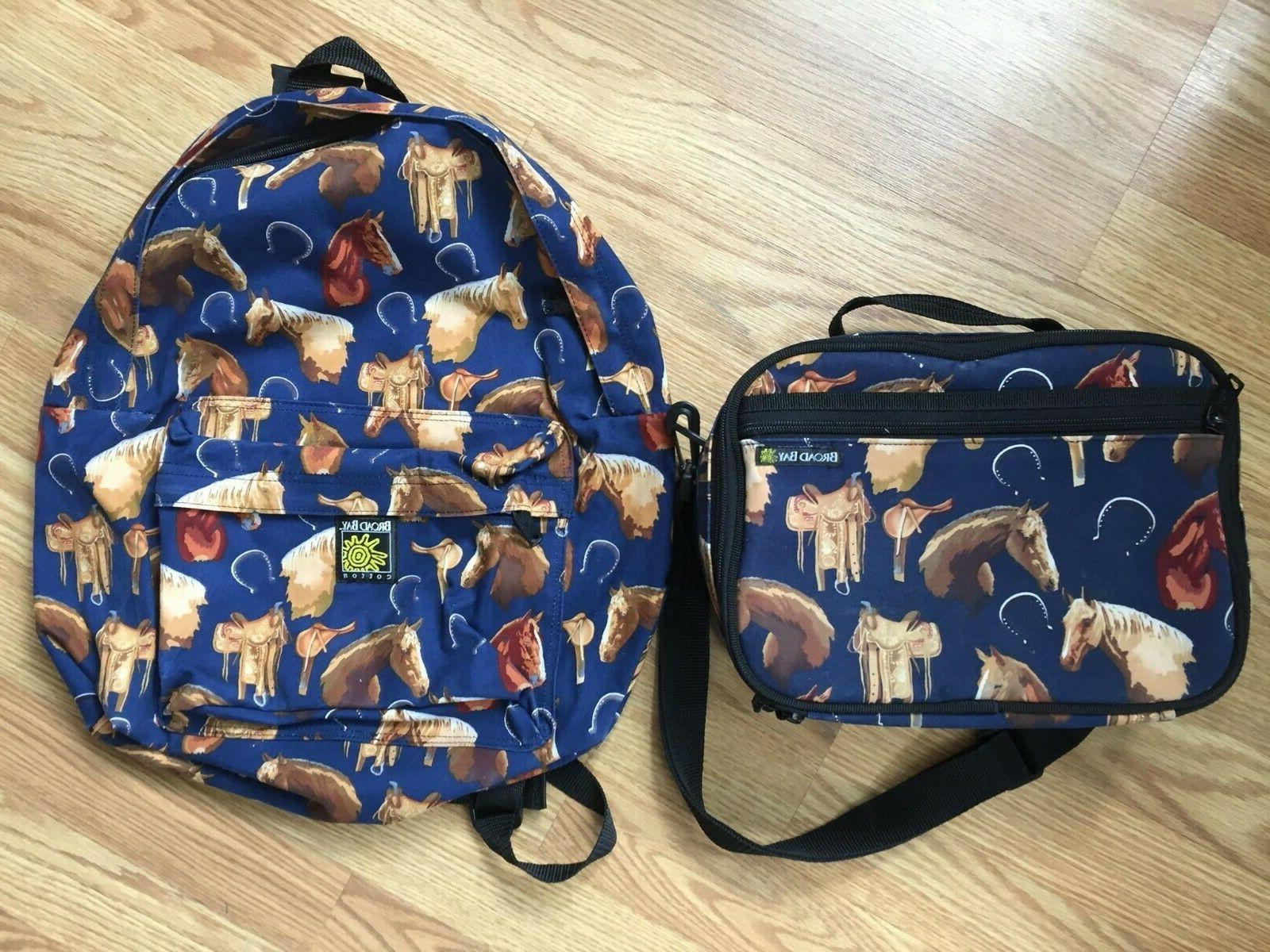 cotton blue horse themed backpack and lunchbox