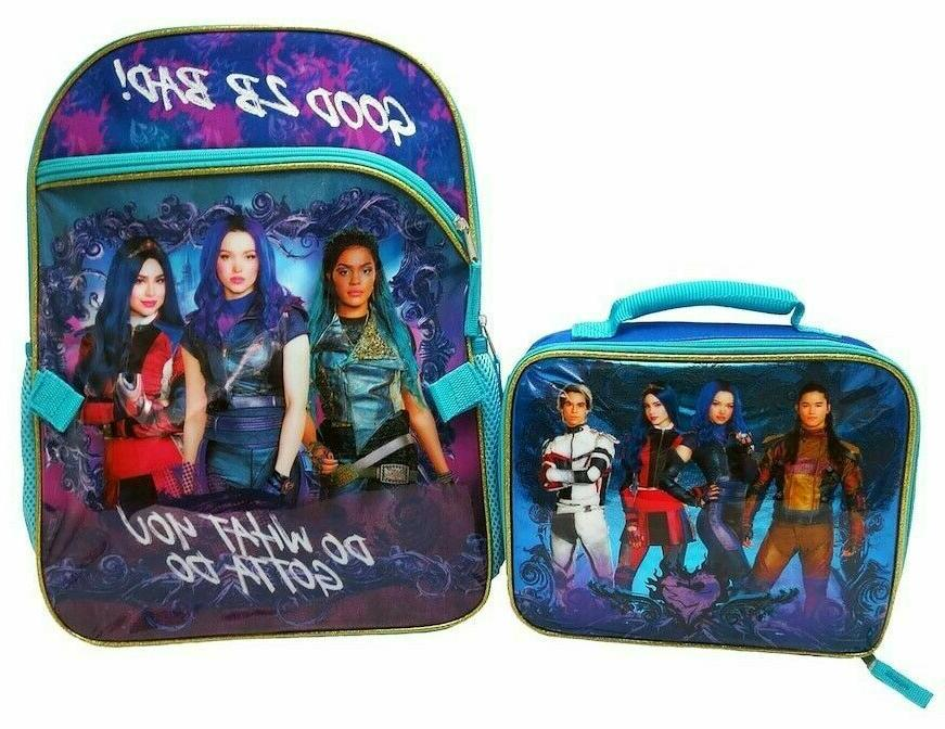 descendants 3 school backpack with lunch box