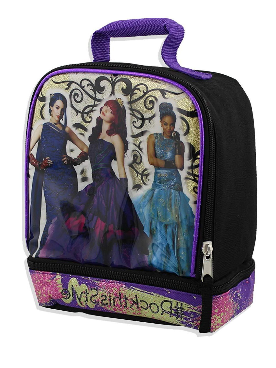 descendants girls school soft dual compartment lunch
