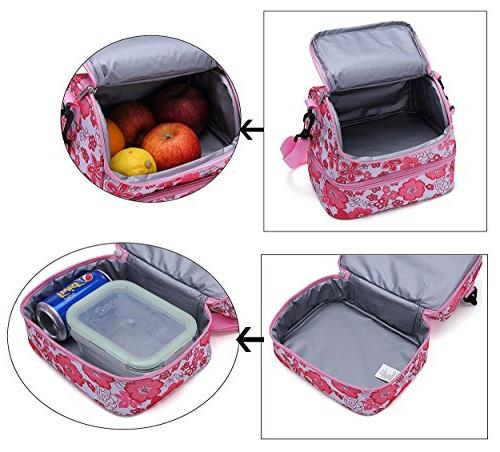 MIER Lunch Box Pink Cooler Tote with Strap