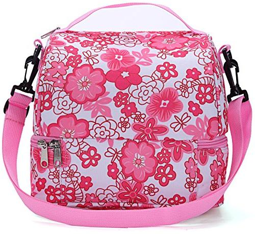 MIER Decker Lunch Box Pink Cooler Thermal Tote with Shoulder