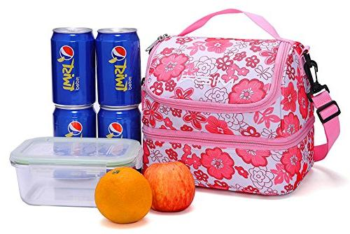 MIER Double Decker Insulated Lunch Cooler Bag Tote Shoulder