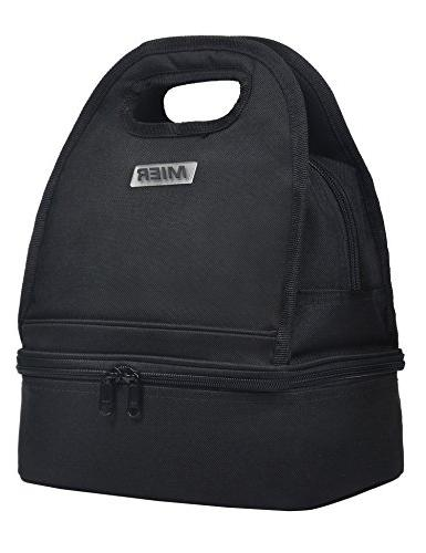 dual compartment insulated lunch bag