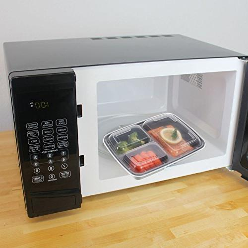 Freshware Meal 3 Compartment Lids, Food Box | BPA Stackable Microwave/Dishwasher/Freezer 21 day