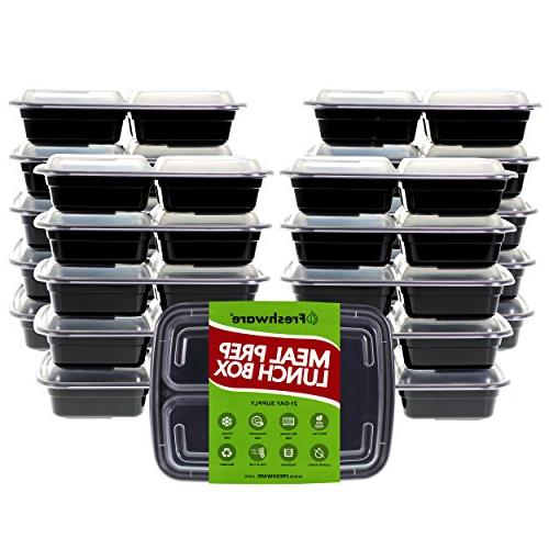 3 with Lids, Food | BPA Stackable Lunch Microwave/Dishwasher/Freezer Control, 21 day fix