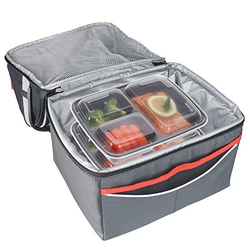 Freshware Meal Prep 3 with Food | BPA Stackable | Lunch Boxes, Microwave/Dishwasher/Freezer Control, 21 day