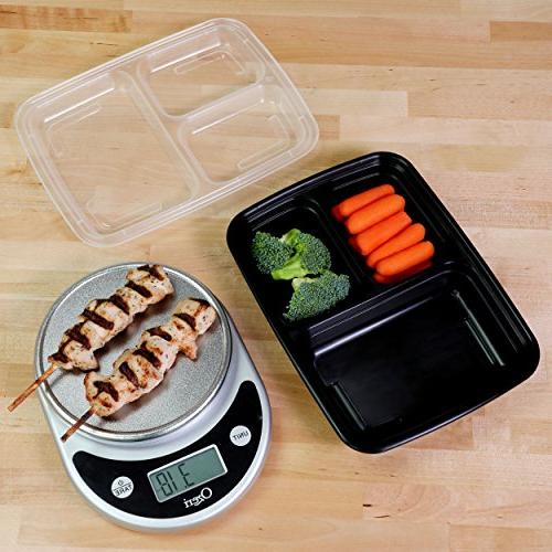 Freshware Containers 3 with Food Bento Box | Microwave/Dishwasher/Freezer 21 day fix