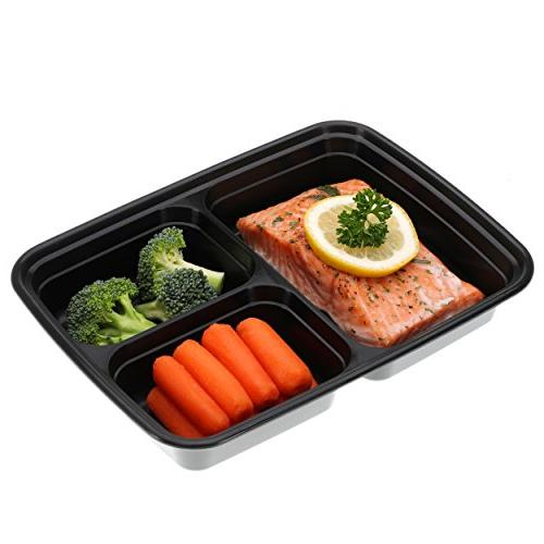 Freshware Containers 3 Compartment with Lids, Food | Free Stackable | Lunch Boxes, Microwave/Dishwasher/Freezer Portion 21 day