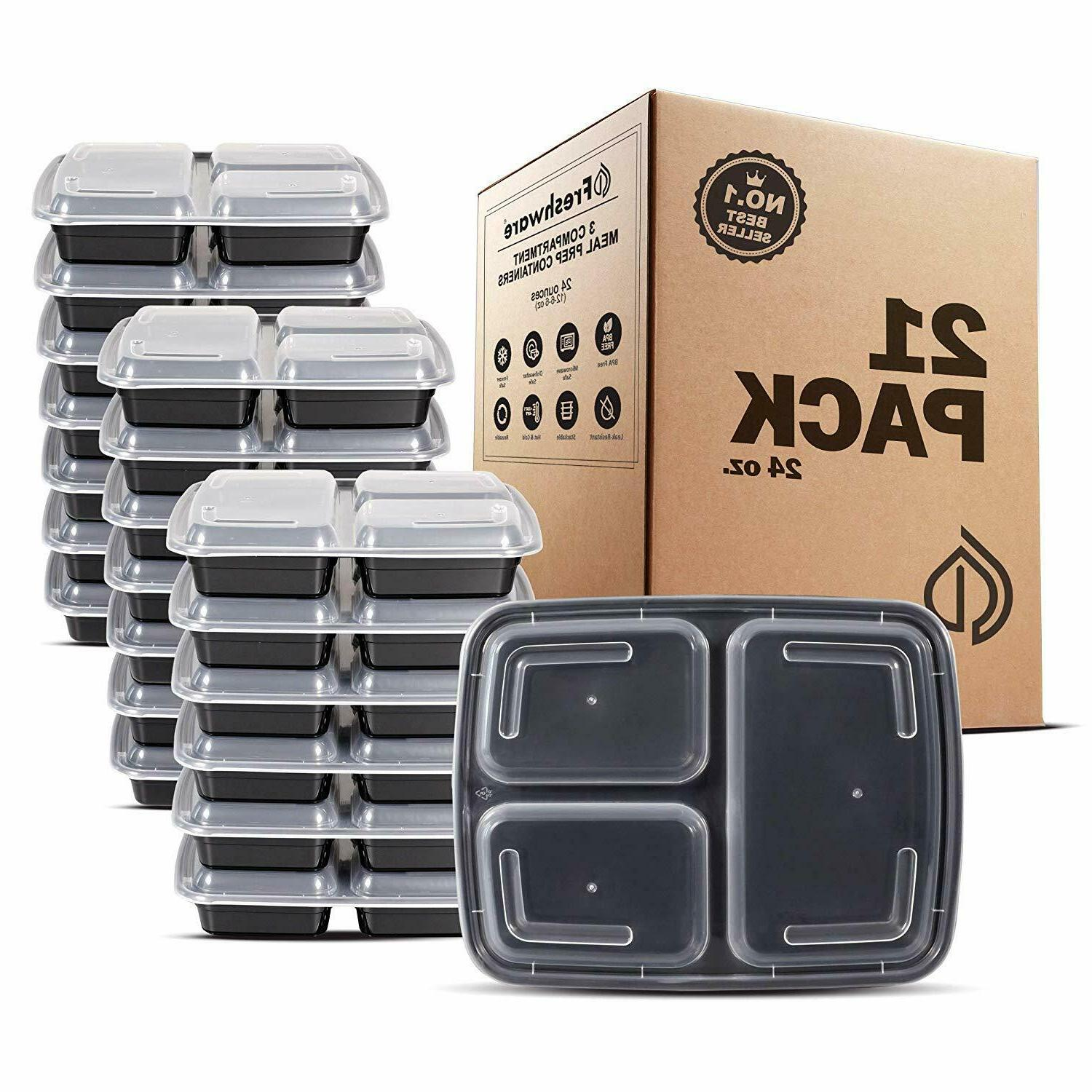 freshware meal prep containers compartment lids food storage
