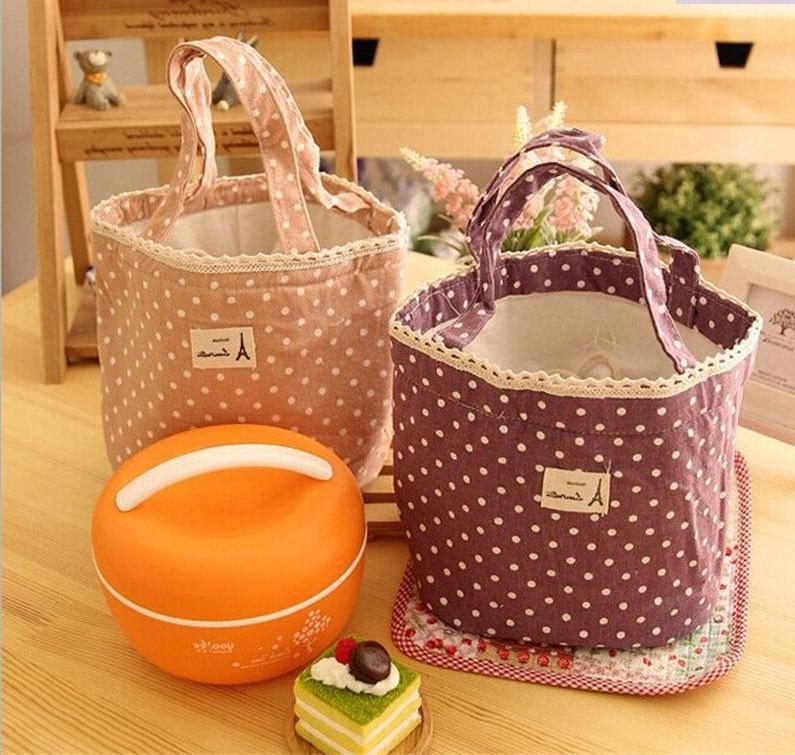 Handbag Lunch Box Picnic Travel Fabric Polka Dot Round Shape