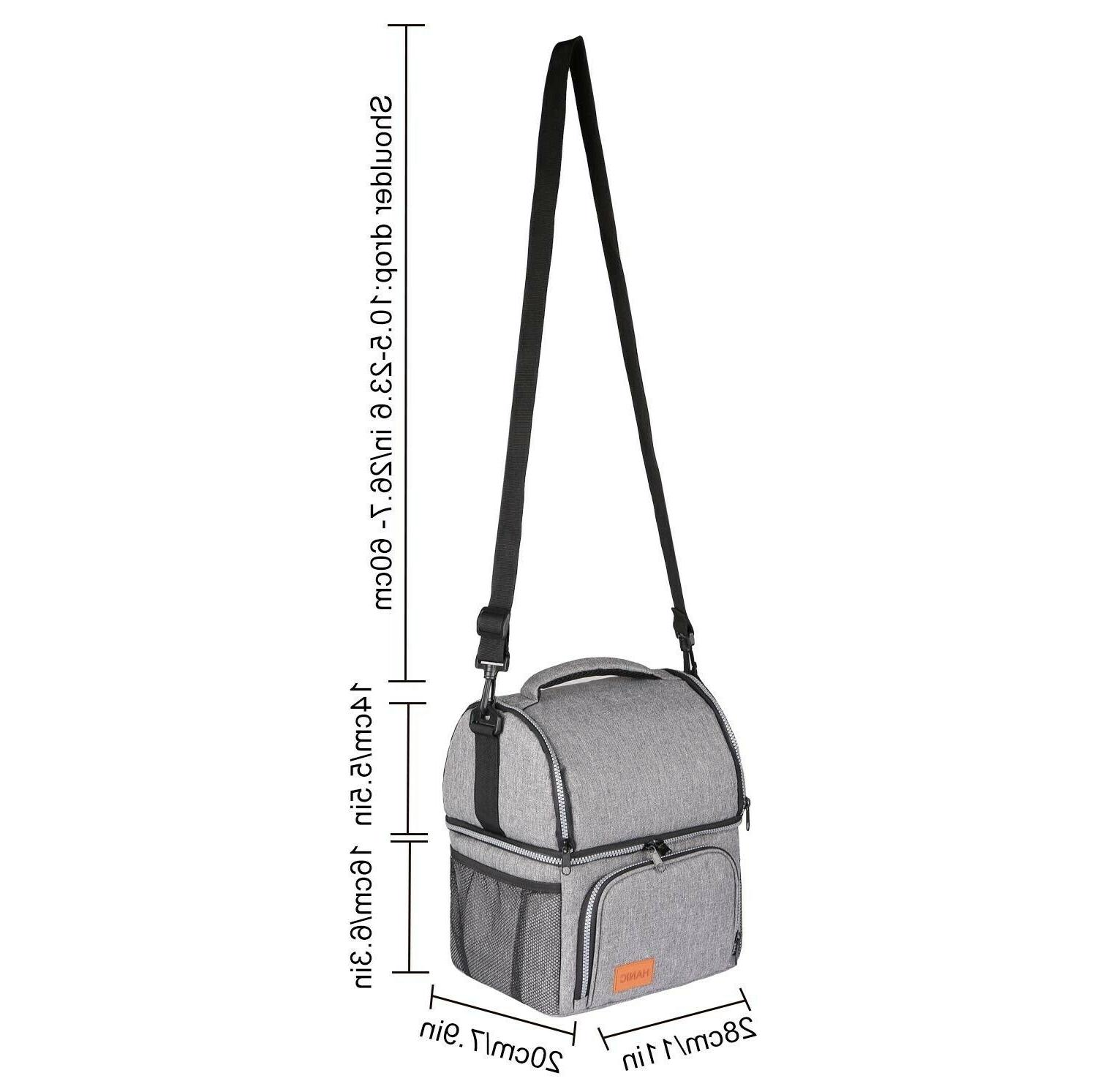 Hanic Insulated Lunch Bag For Men Women Adult Lunchbox Strap Double