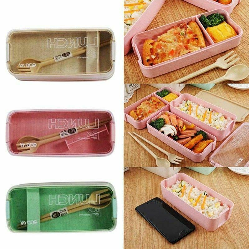 900ml Healthy Lunch Box 3 Layer Straw Bento Boxes Microwave