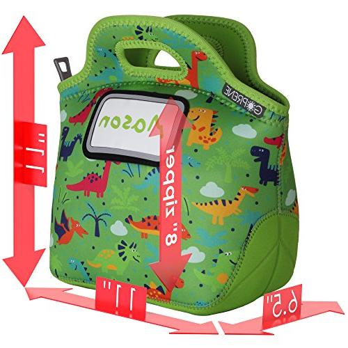 GOPRENE Kids Lunch Card Insulated, Washable, Color: Green Dino, Blank Name Cards